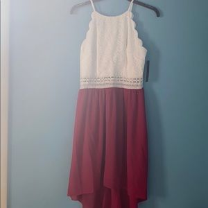 BCX Chiffon Lace Red & White halter illusion